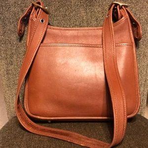 Vintage Coach Buckle Brown Leather Crossbody Purse